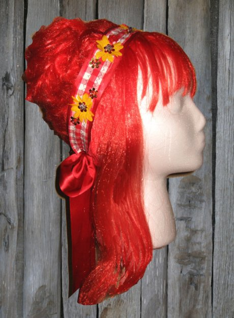 Red Gingham & Yellow Daisy Ribbon Headband
